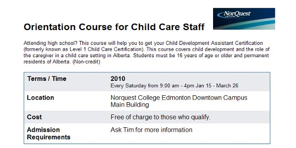 Child Care Course at Norquest