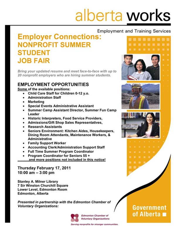 Summer Student Job Fair, Feb.17th.  What does this mean?  This job fair is tailored to you, the student!  Ask Tim or Neda for more information.
