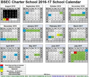 BSEC School Calendar 2016-2017 - Students